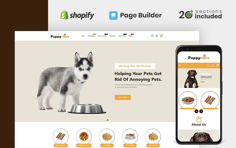 """""""Puppy Store"""" Responsive Shopify Thema №142996"""