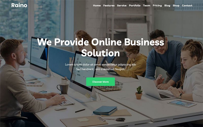 Raino - Digital Agency One page Tema WordPress №143375