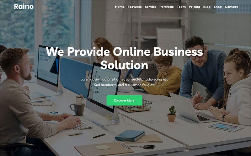 """Raino - Digital Agency One page"" thème WordPress Bootstrap #143375"
