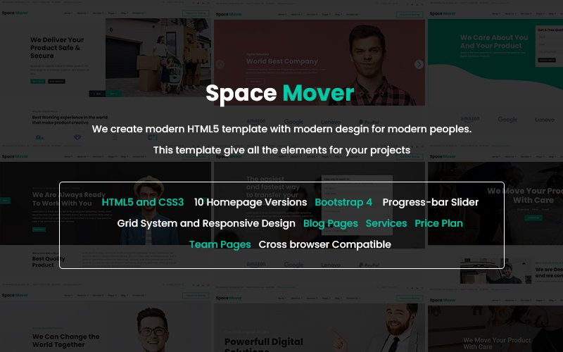 """Space Mover Website Template"" 响应式网页模板 #143359"