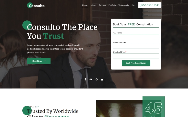 """Tema di Landing Page Responsive #143361 """"Consulto - law & Businesses  Consulting Agency HTML5"""""""