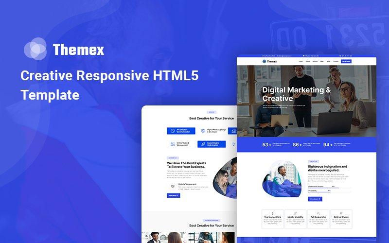 """""""Themex - Creative Responsive"""" 响应式网页模板 #143353"""