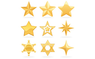 Golden Star Icons - Illustration