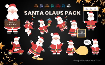 11 Santa Claus Pack Vector Graphic