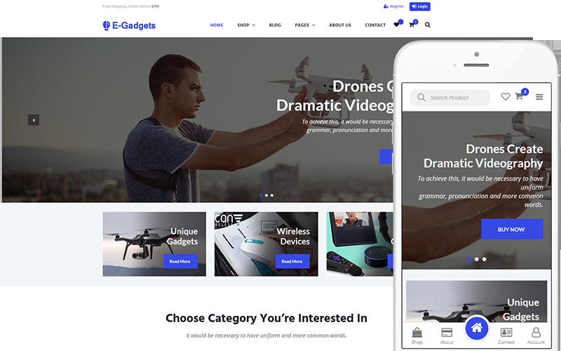 """E-Gadgets - Technology & Gadgets"" Responsive WooCommerce Thema №144039"