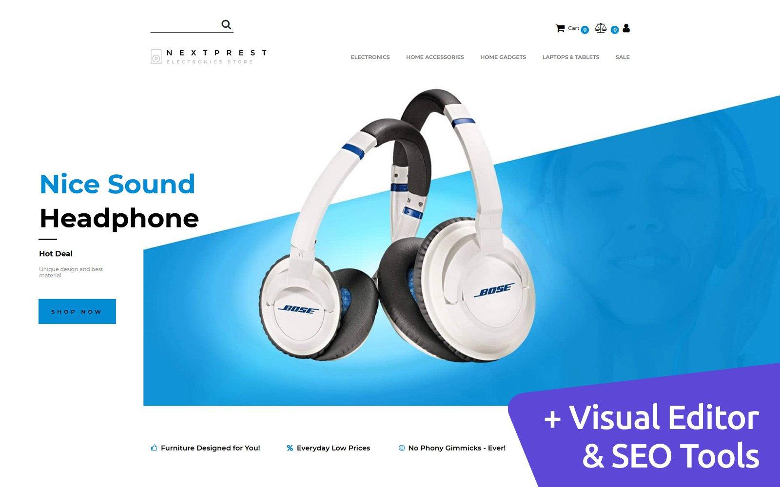 Nextprest - Electronics Store Template Ecommerce MotoCMS №144043