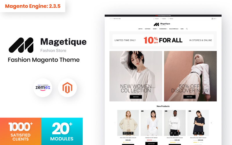 Reszponzív Magetique - Fashion Store Magento sablon 144042
