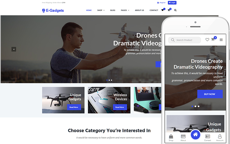 "WooCommerce Theme namens ""E-Gadgets - Technology & Gadgets"" #144039"