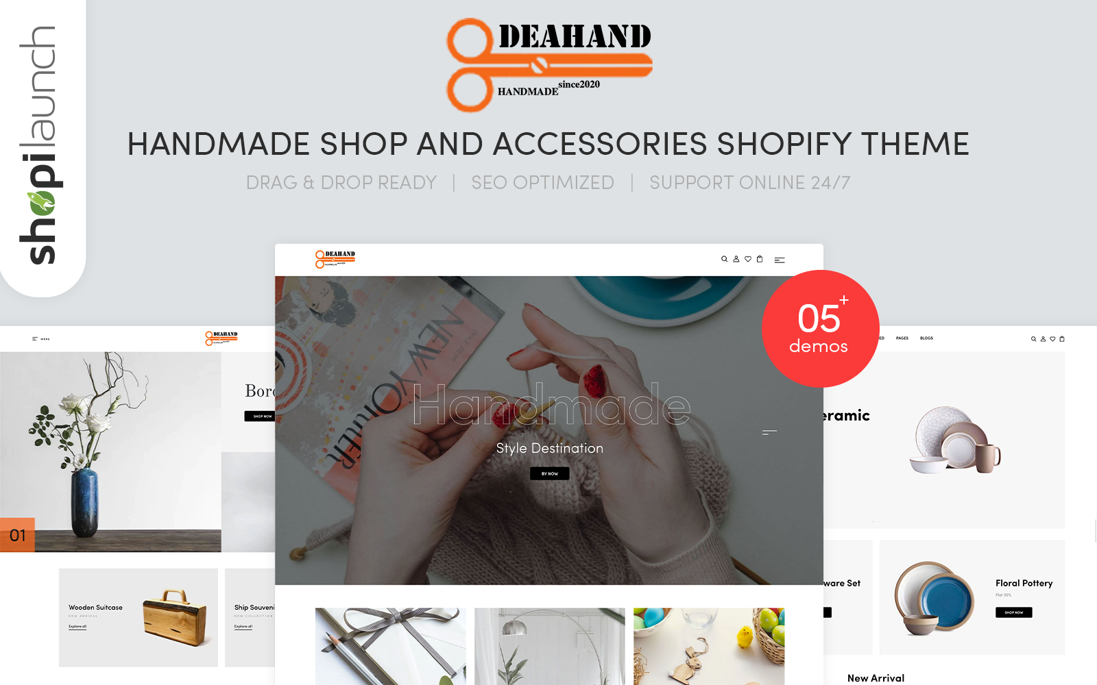 """Tema Shopify """"Deahand - Handmade Shop And Accessories"""" #144479"""