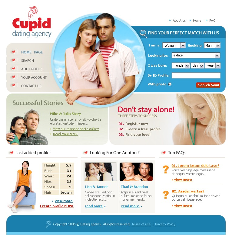 dating site about me template - dating website template 14569