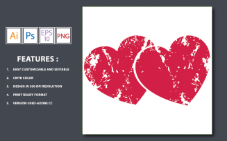 Grunge Heart Vector - Illustration