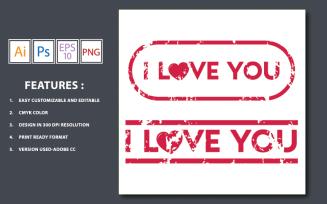 Grunge i Love you Vector Text - Illustration