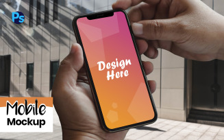 Mobile with Hand Product Mockup