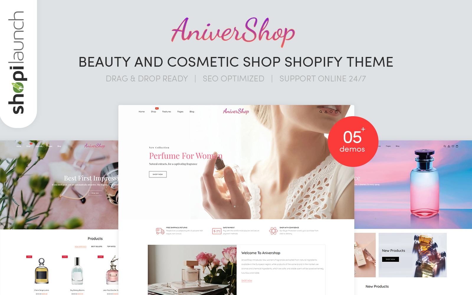 """AniverShop - Beauty & Cosmetics Shop Responsive"" 响应式Shopify模板 #145320"