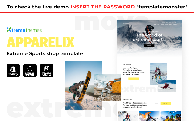 """Apparelix - Extreme Sports Shop"" Responsive Shopify Thema №145324"