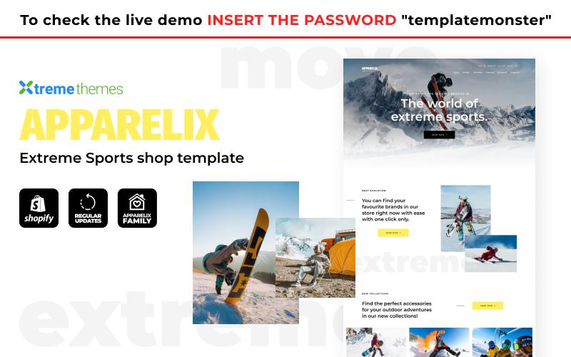 Reszponzív Apparelix - Extreme Sports Shop Shopify sablon 145324