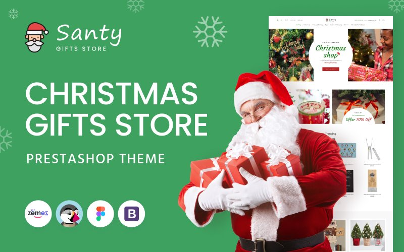"""Santy - Christmas Gifts Store"" - адаптивний PrestaShop шаблон №145325"
