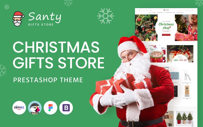 """Santy - Christmas Gifts Store"" Responsive PrestaShop Thema №145325"