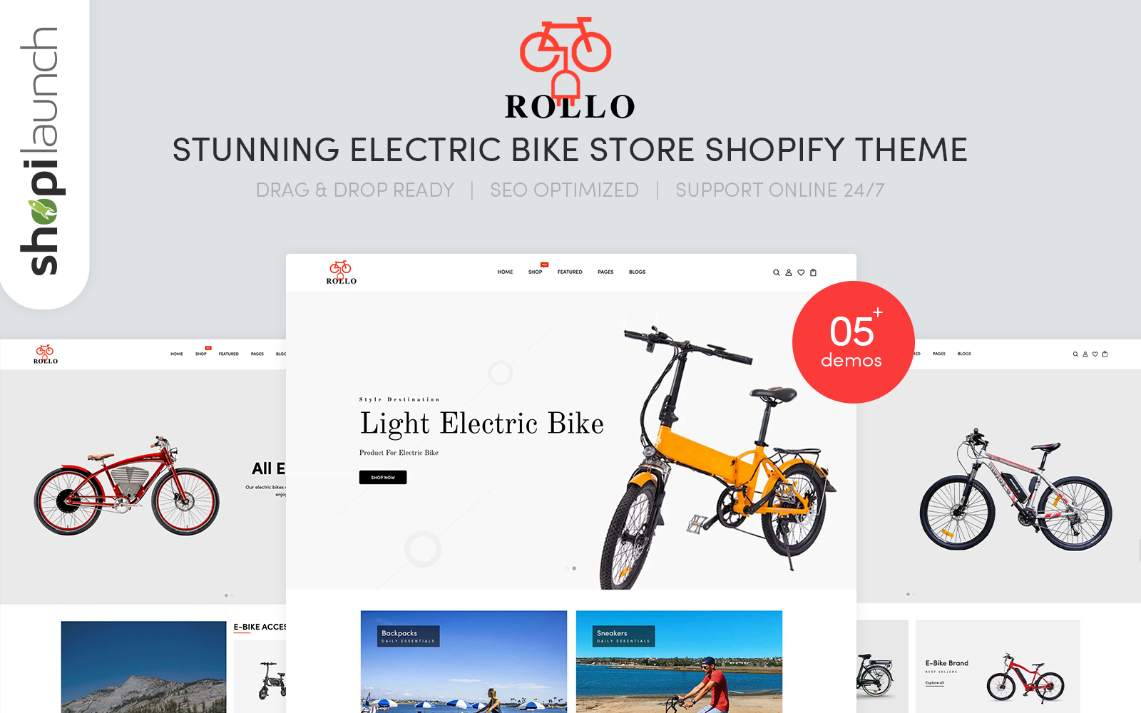 "Tema Shopify Responsive #145317 ""Rollo - Stunning Electric Bike Store eCommerce"""