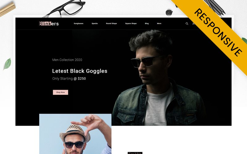 """Blinkers - Goggles Store"" thème PrestaShop adaptatif #145599"