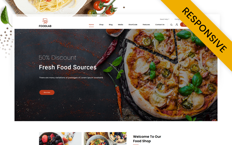 "WooCommerce Theme namens ""FoodLab - Restaurant Food Store"" #145598"