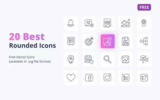 20 Best Free Rounded Icons (.ai, .svg) Set