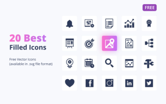 20 Free Filled Icons Set