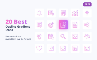 20 Free Outline Gradient Icons Set