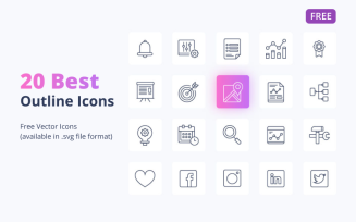 20 Free Outline Icons Set