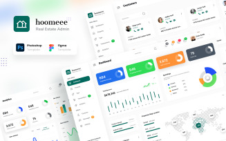 Hoomeee - Real Estate Admin Dashboard Figma and PSD Template UI Elements