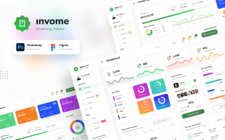Invome - Invoicing Admin Dashboard Figma and PSD Template UI Elements