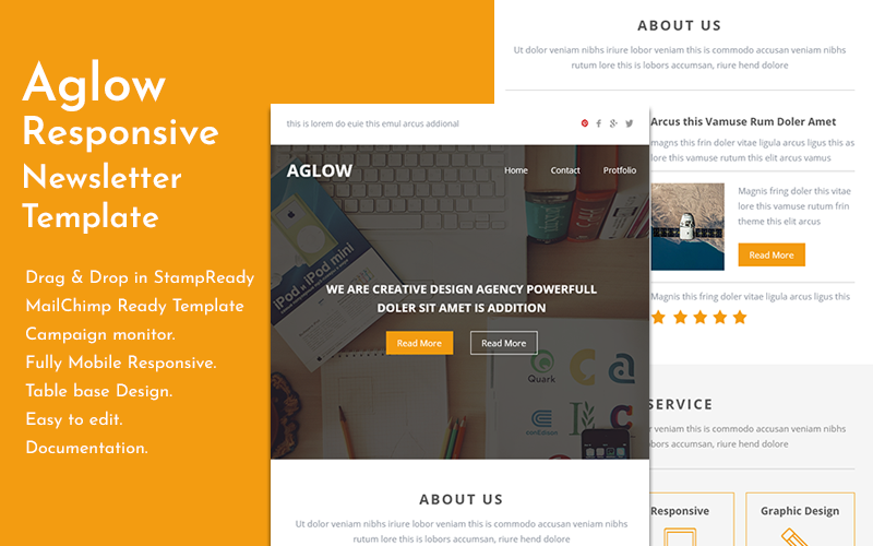 """Newsletter šablona """"Aglow - Responsive Email Template with Builder"""" #146031"""