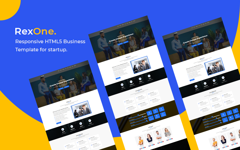 "Plantilla Para Página De Aterrizaje ""Rexone - Responsive HTML5 Business"" #146485"
