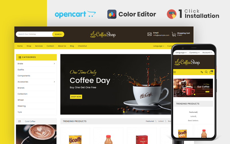 Drinks & Beverages Store OpenCart Template