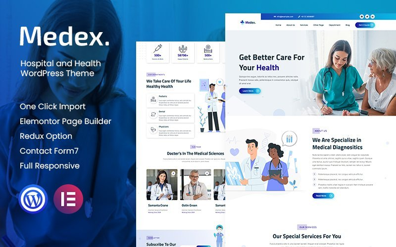 Medex - Hospital and Health WordPress Theme Tema WordPress №146669
