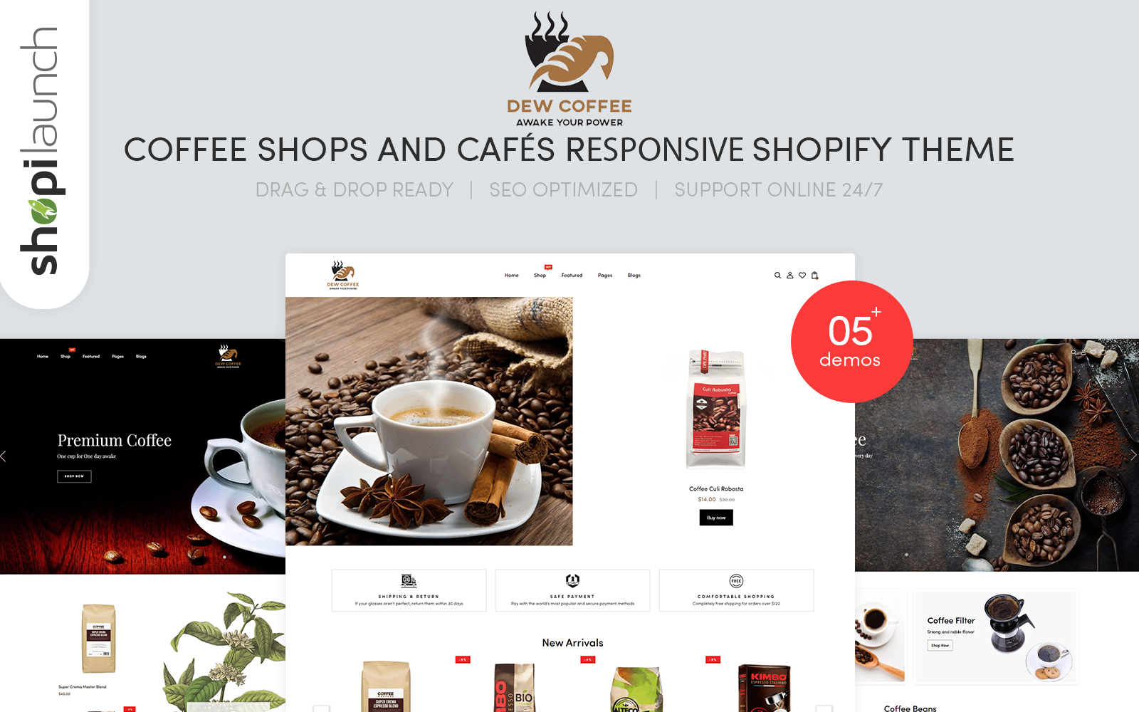 """""""DewCoffee - Coffee Shops & Cafes Responsive"""" 响应式Shopify模板 #146795"""