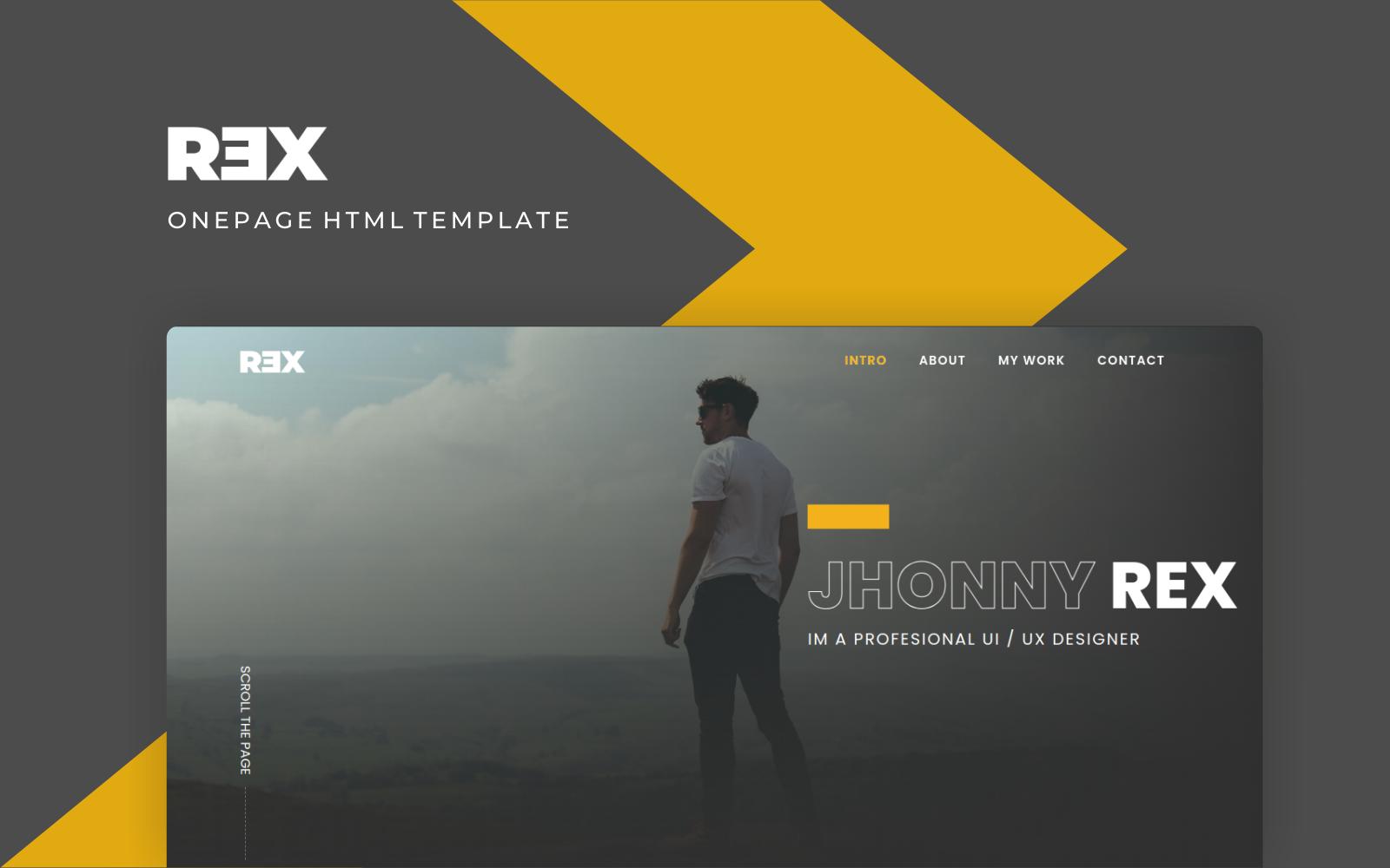 """Rex - Creative Personal Multipurpose Portfolio"" - адаптивний Шаблон цільової сторінки №146792"