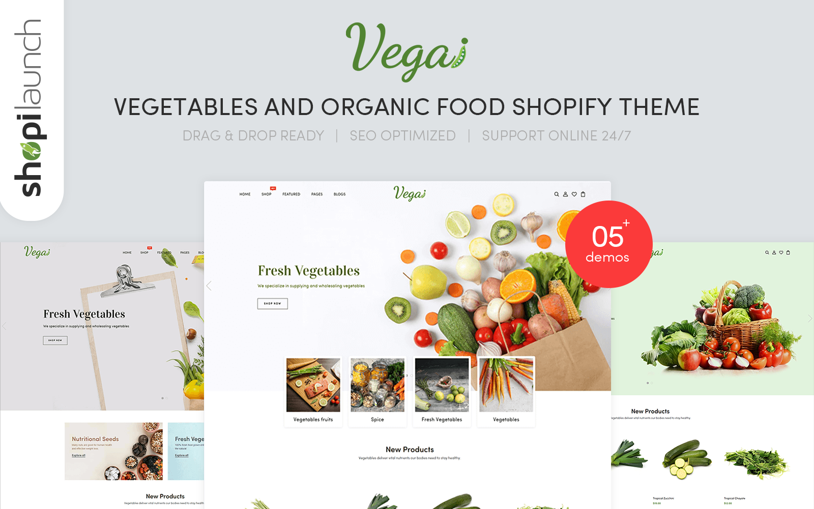 """Vegai - Vegetables And Organic Food eCommerce"" 响应式Shopify模板 #146793"
