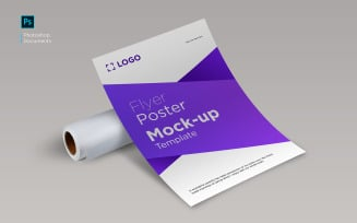 Flyer curve with paper roll mockup design template Product Mockup