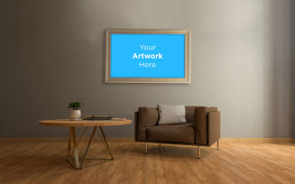 Living room interior sofa and table with empty photo frame mockup design product mockup
