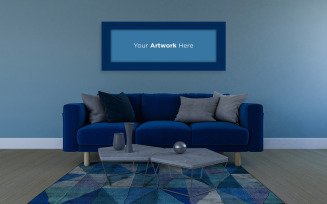 Horizontal photo frame mockup with blue sofa and carpet living room interior design Product Mockup