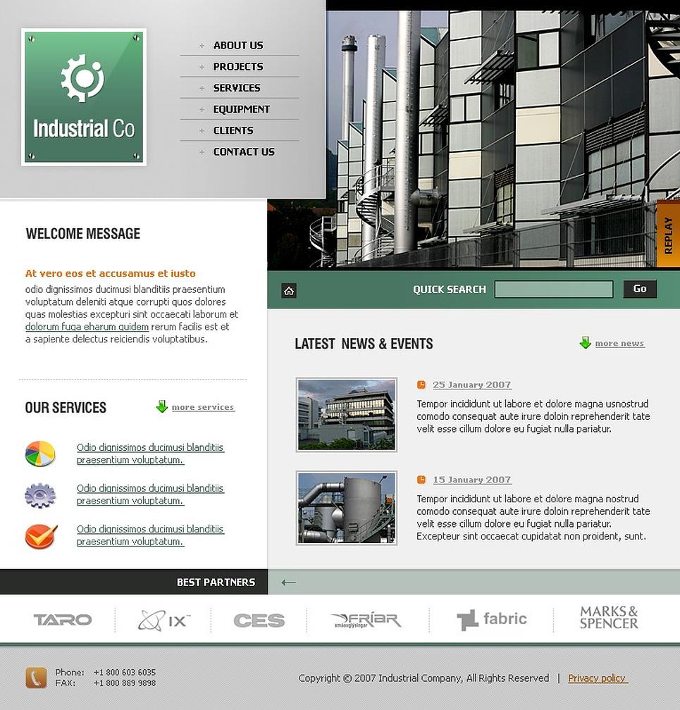 Template siti web per un sito di industria for Siti web di home plan