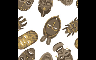African Masks Pattern - Illustration