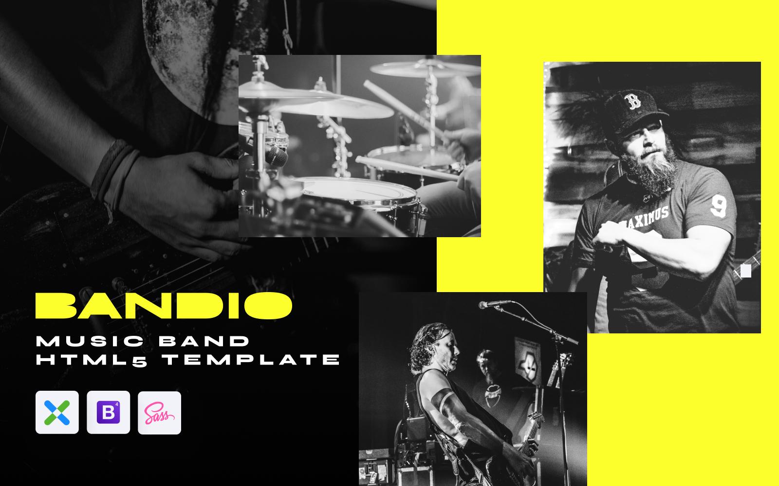 """Bandio - Modern HTML5 Music and Band"" - адаптивний Шаблон сайту №148481"