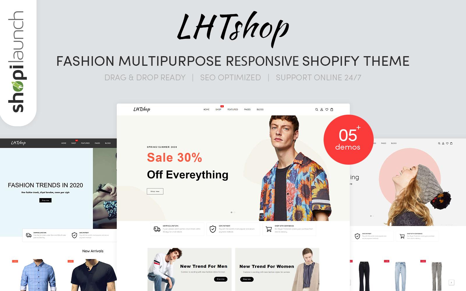 """LhtShop - Fashion Multipurpose Responsive"" Responsive Shopify Thema №148472"