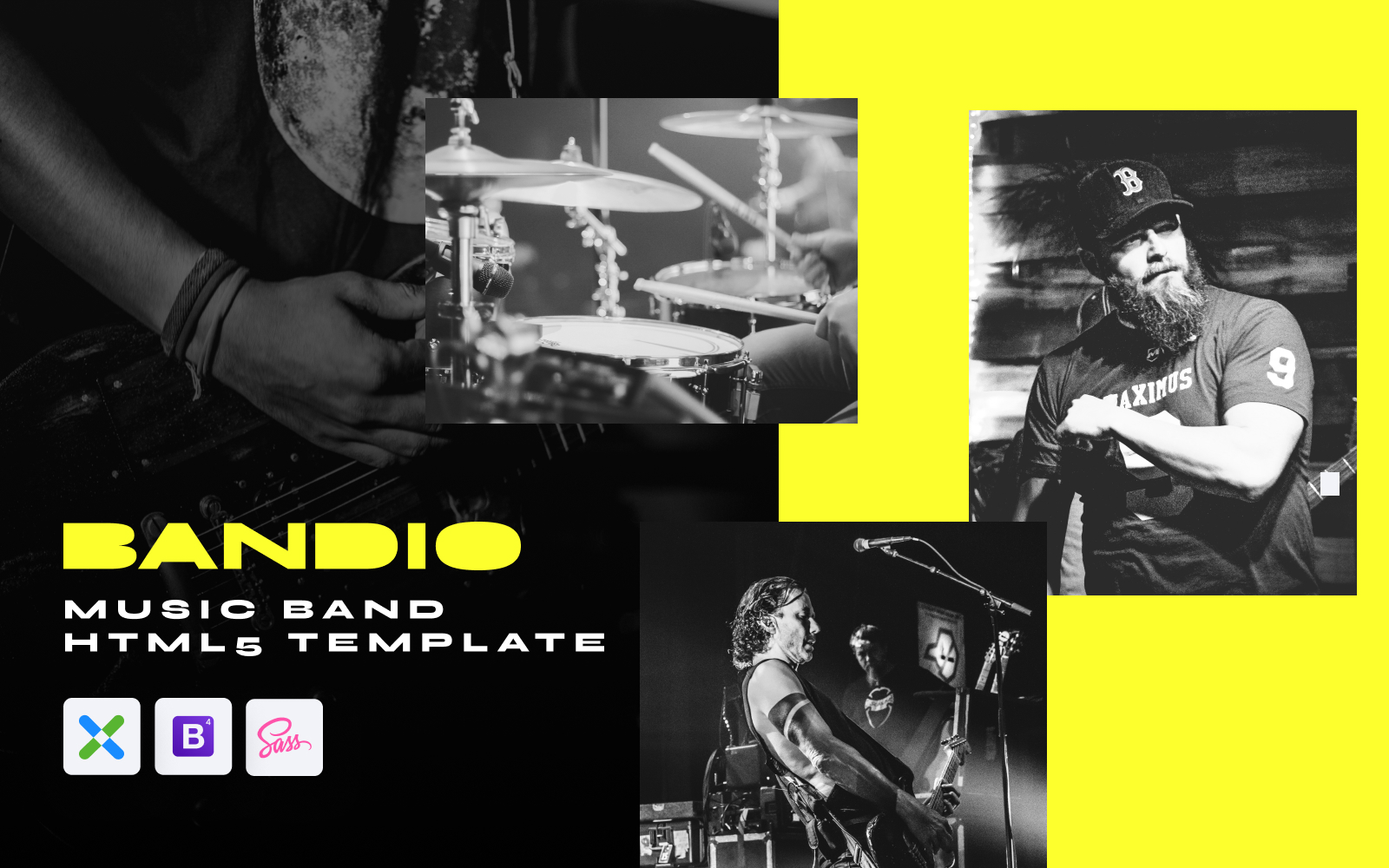 Responsivt Bandio - Modern HTML5 Music and Band Hemsidemall #148481