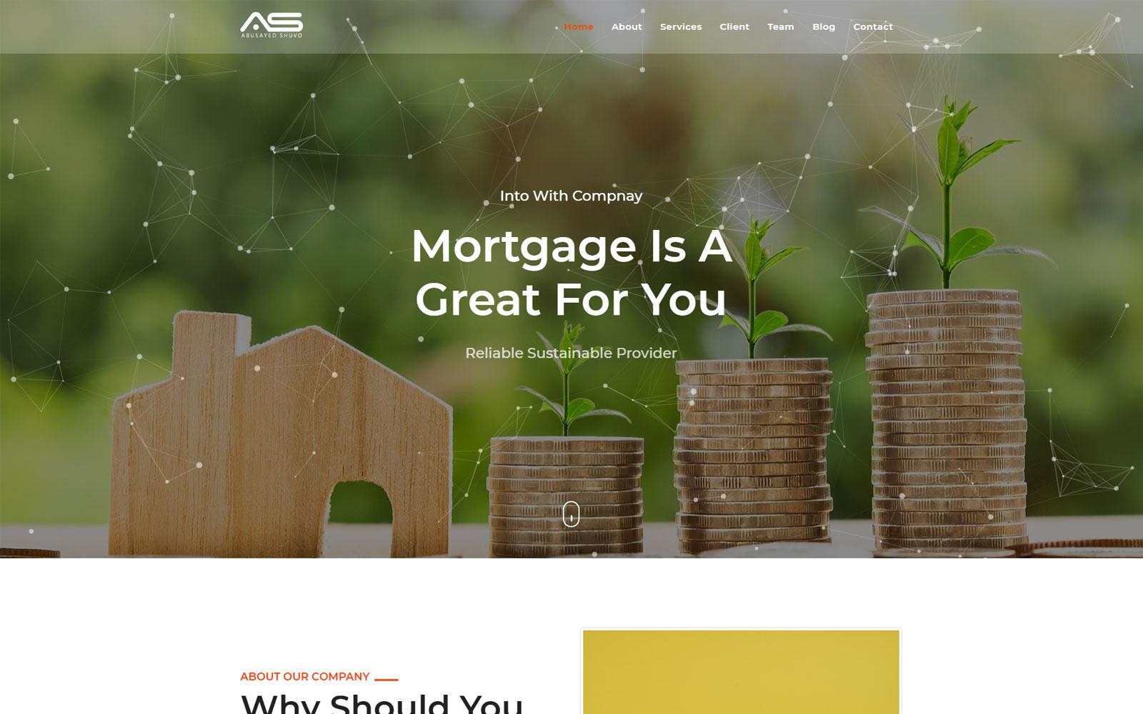 "Template di Landing Page Responsive #148474 ""Shuvo - Real Estate Mortgage"""