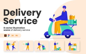 Delivery Service Flat Pack - Illustration