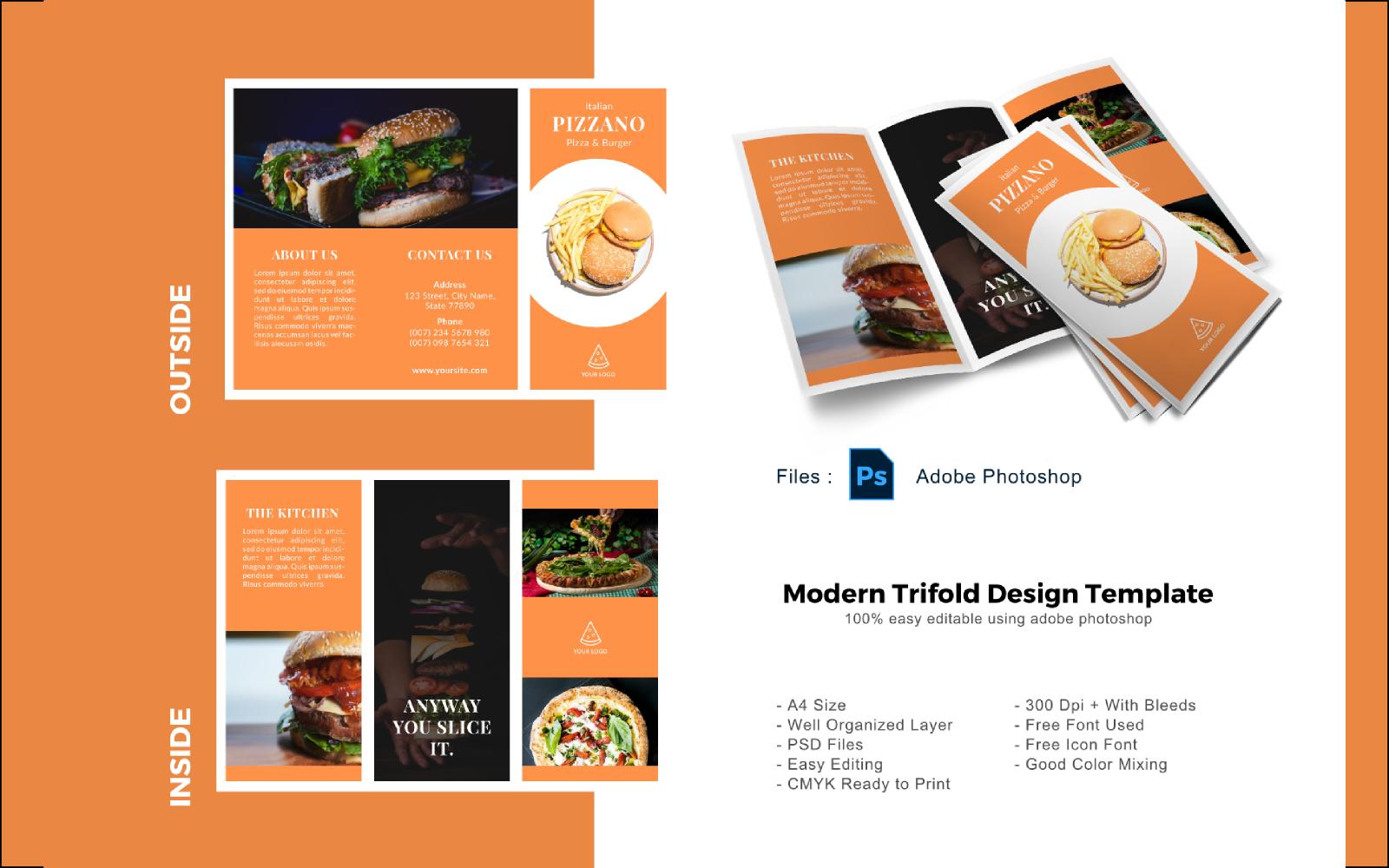 "PSD šablona ""Pizza Restaurant Trifold Brochure"" #148672"