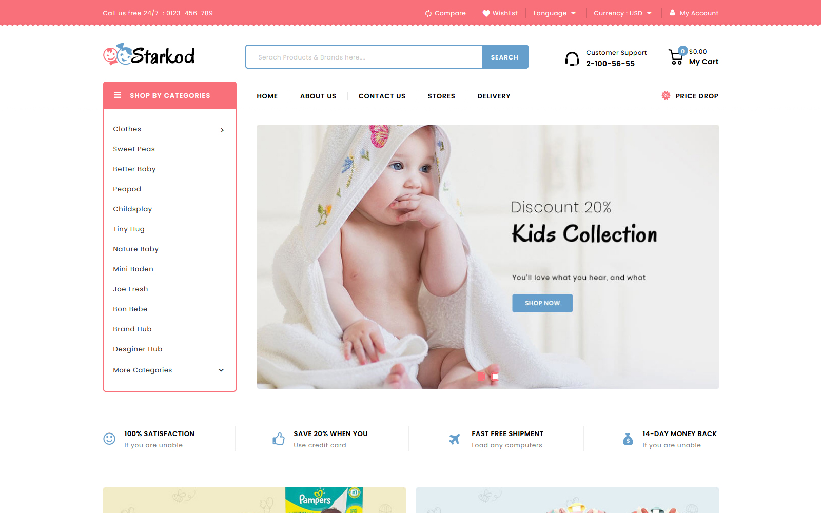 Reszponzív Starkod - Kids and Toys Store PrestaShop sablon 148689